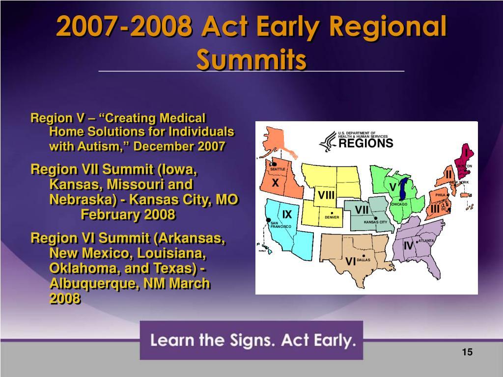 2007-2008 Act Early Regional Summits