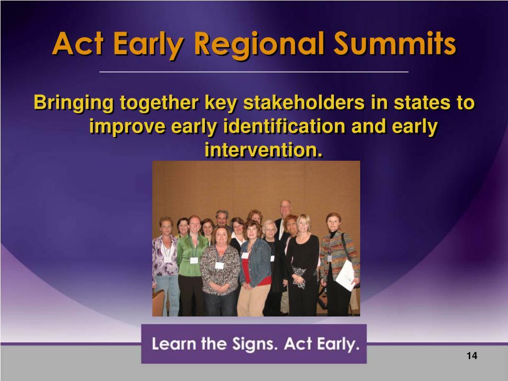Act Early Regional Summits