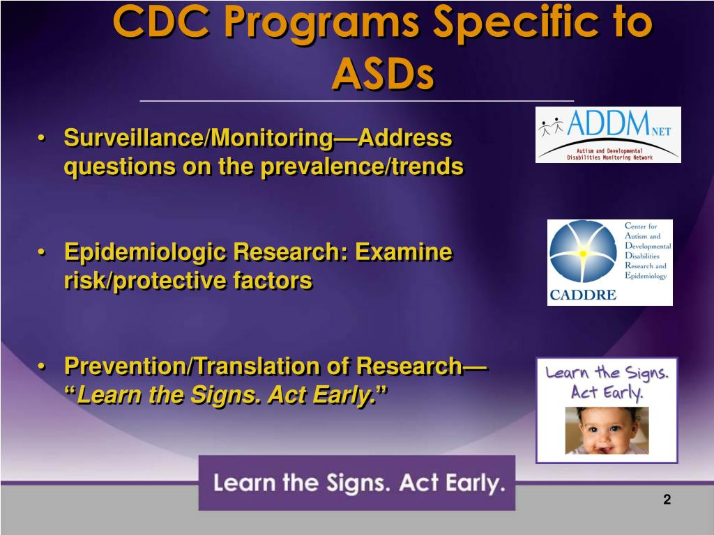 CDC Programs Specific to ASDs