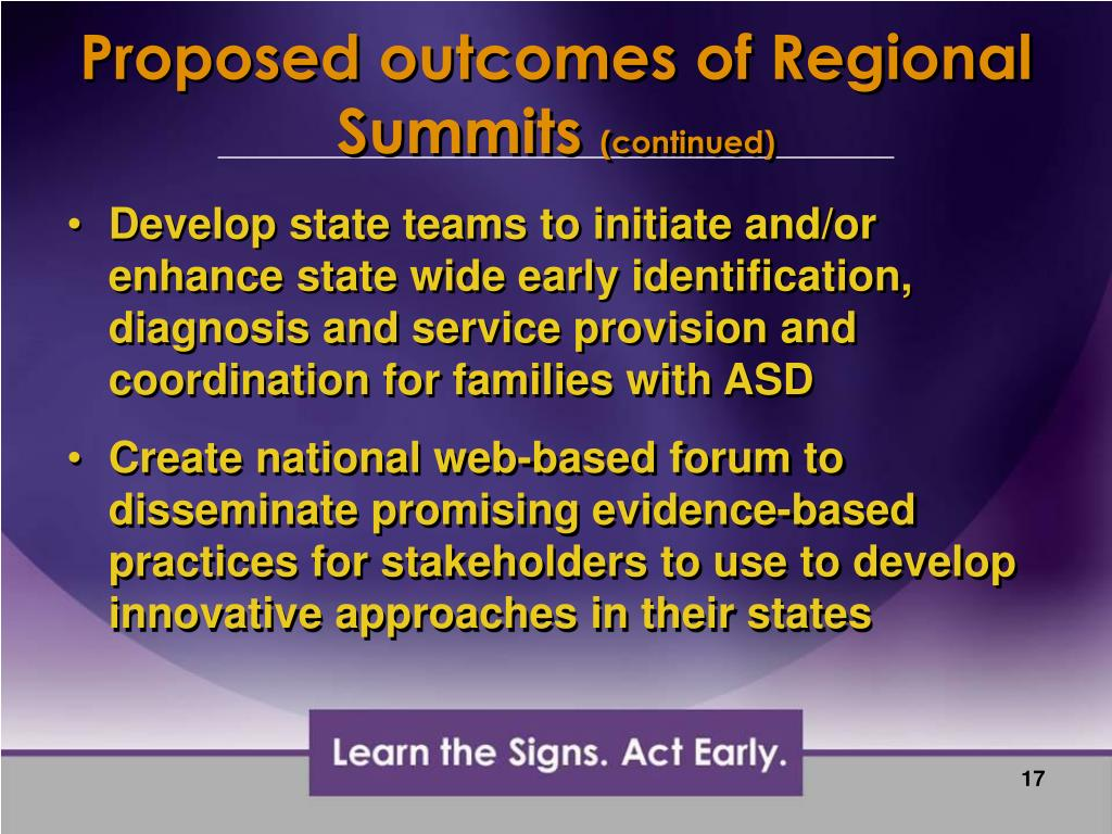 Proposed outcomes of Regional Summits