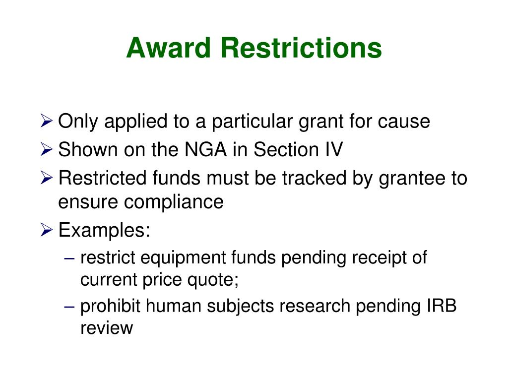 Award Restrictions