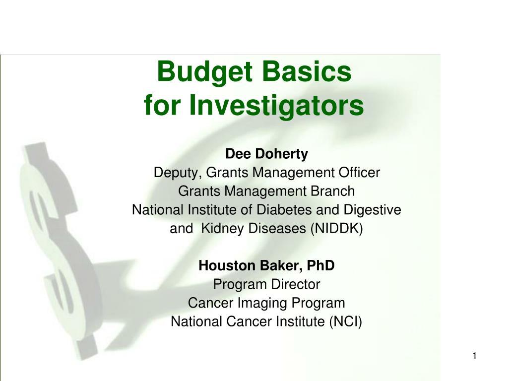 budget basics for investigators