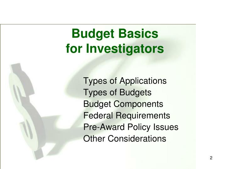 Budget basics for investigators2