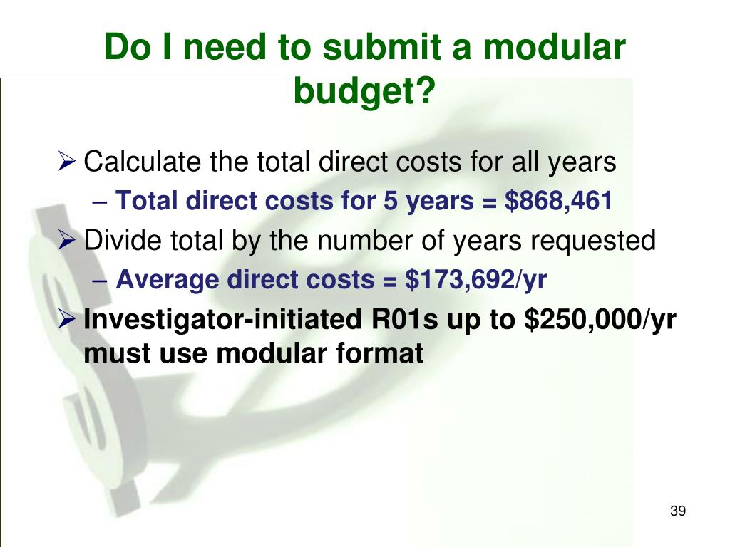 Do I need to submit a modular budget?