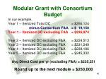 modular grant with consortium budget
