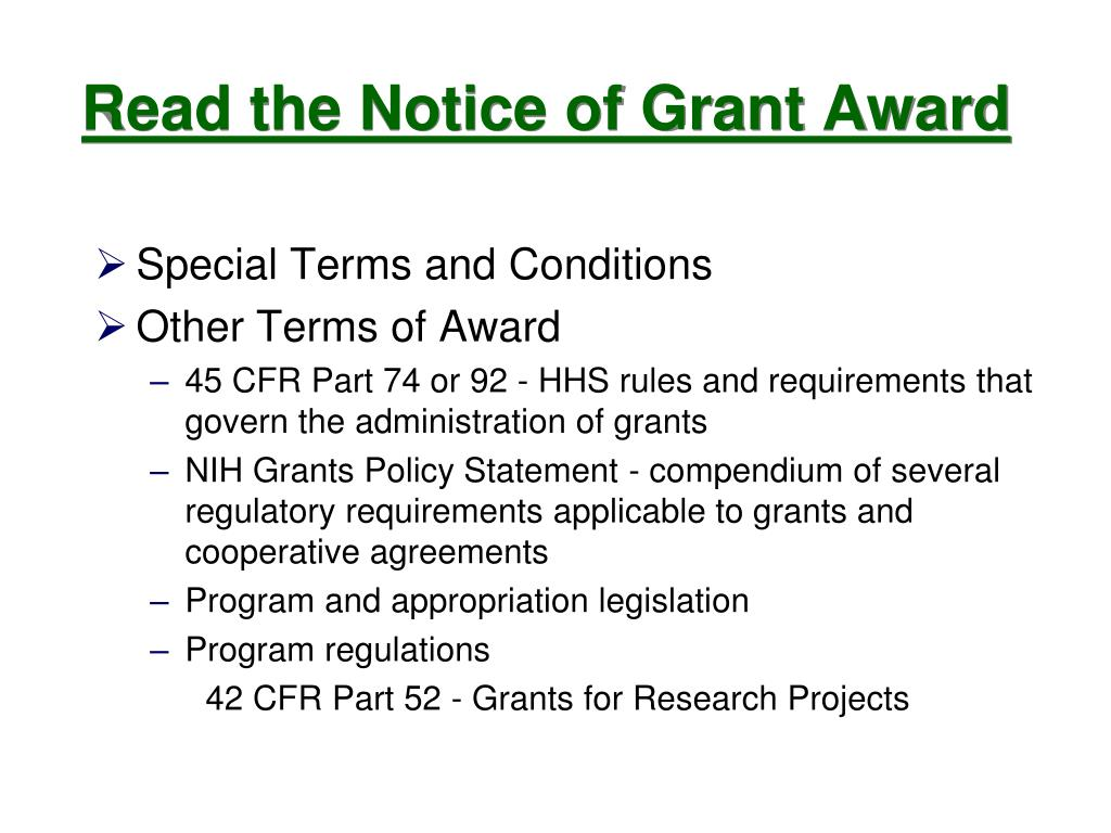 Read the Notice of Grant Award