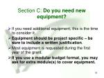 section c do you need new equipment