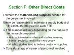 section f other direct costs