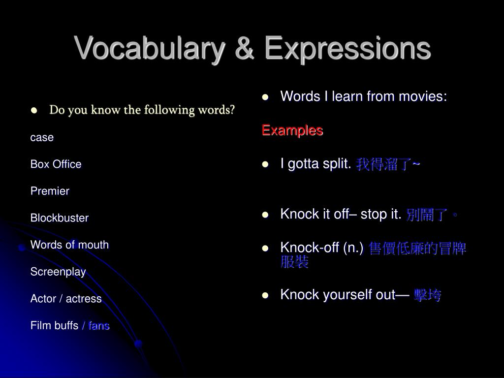 Vocabulary & Expressions