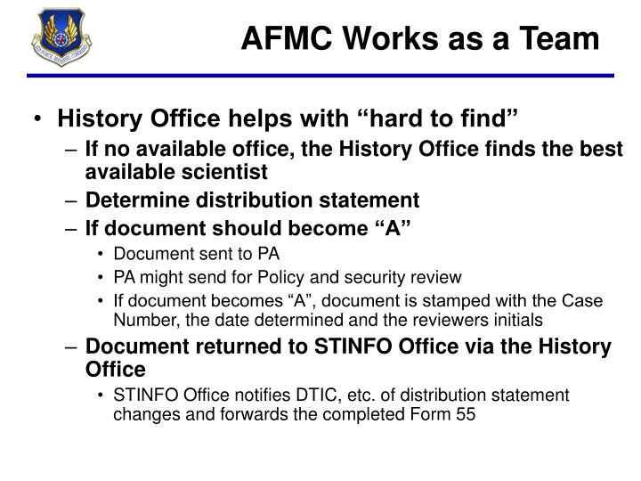AFMC Works as a Team