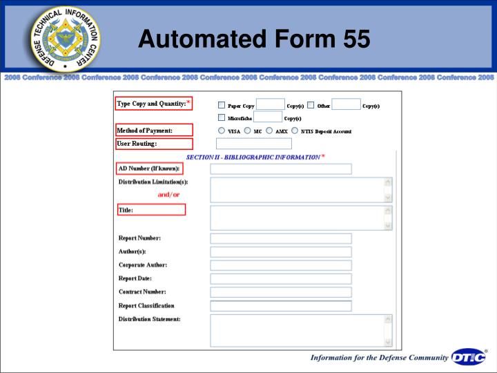 Automated Form 55