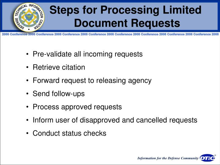 Steps for Processing Limited