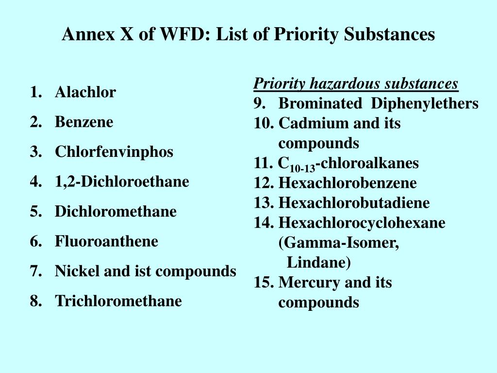 Annex X of WFD: List of Priority Substances