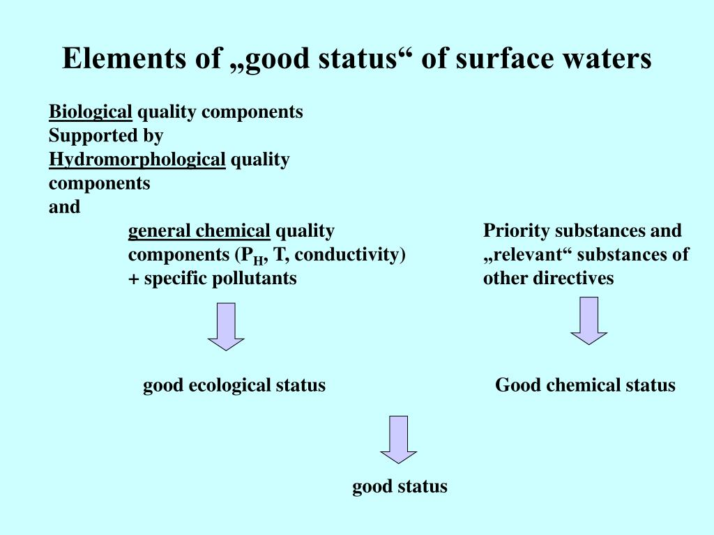 "Elements of ""good status"" of surface waters"