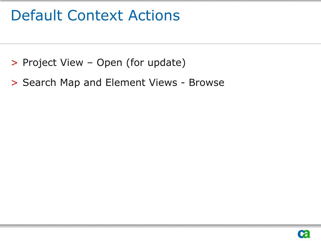 Default Context Actions