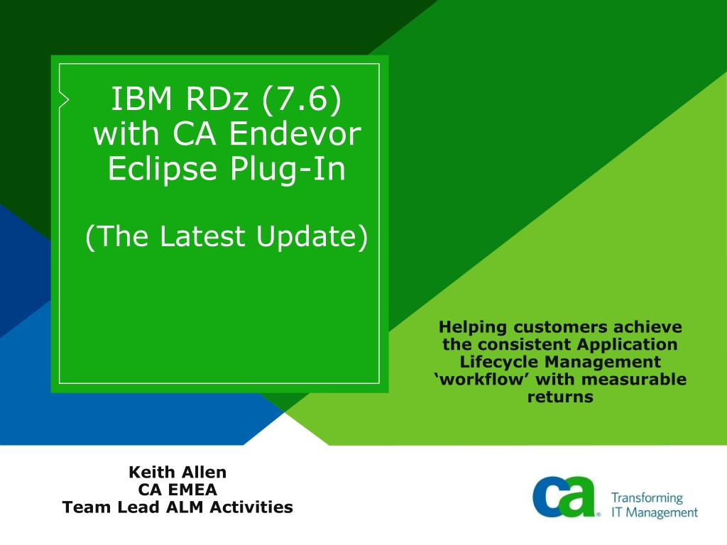 IBM RDz (7.6) with CA Endevor Eclipse Plug-In