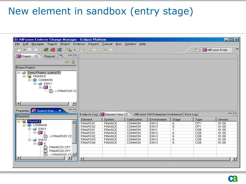 New element in sandbox (entry stage)