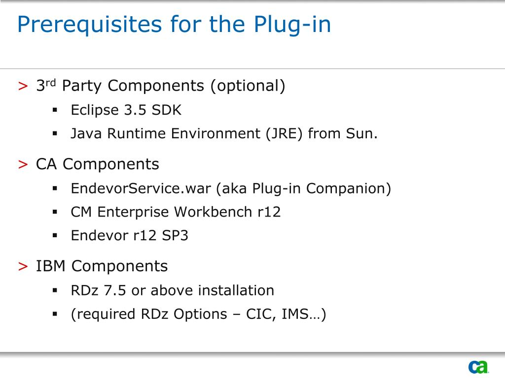Prerequisites for the Plug-in