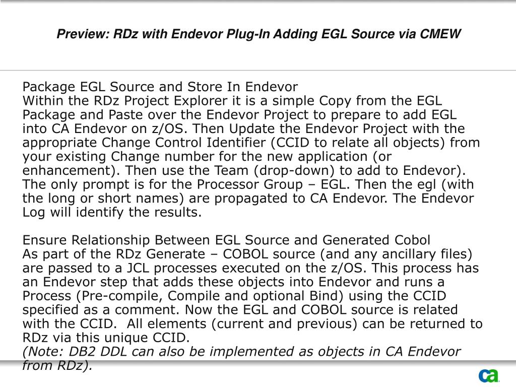 Preview: RDz with Endevor Plug-In Adding EGL Source via CMEW