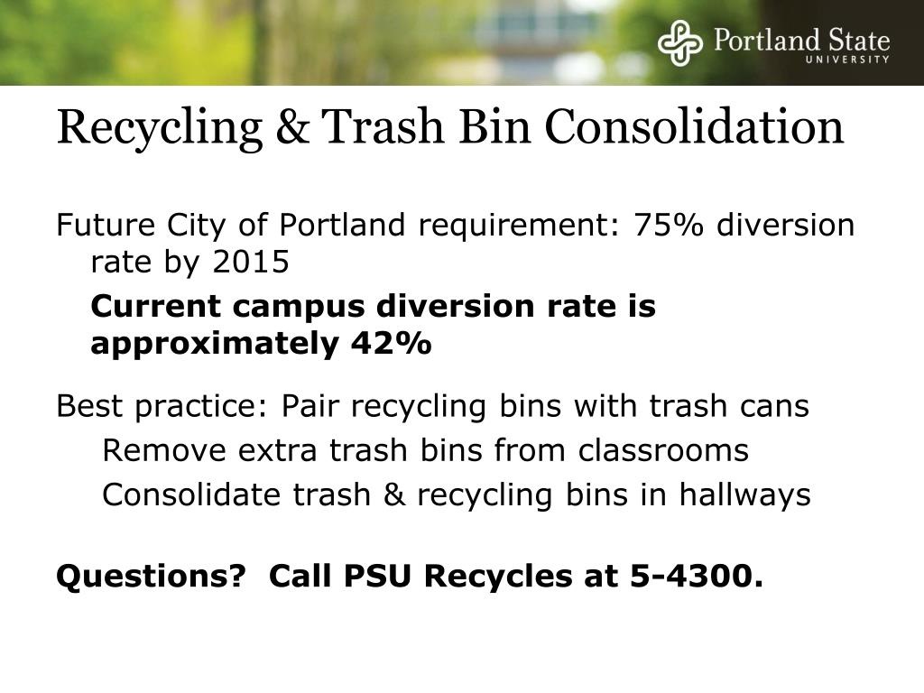 Recycling & Trash Bin Consolidation