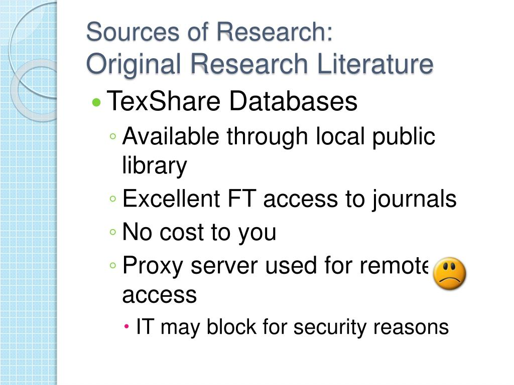 Sources of Research: