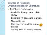sources of research original research literature7