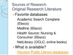 sources of research original research literature8