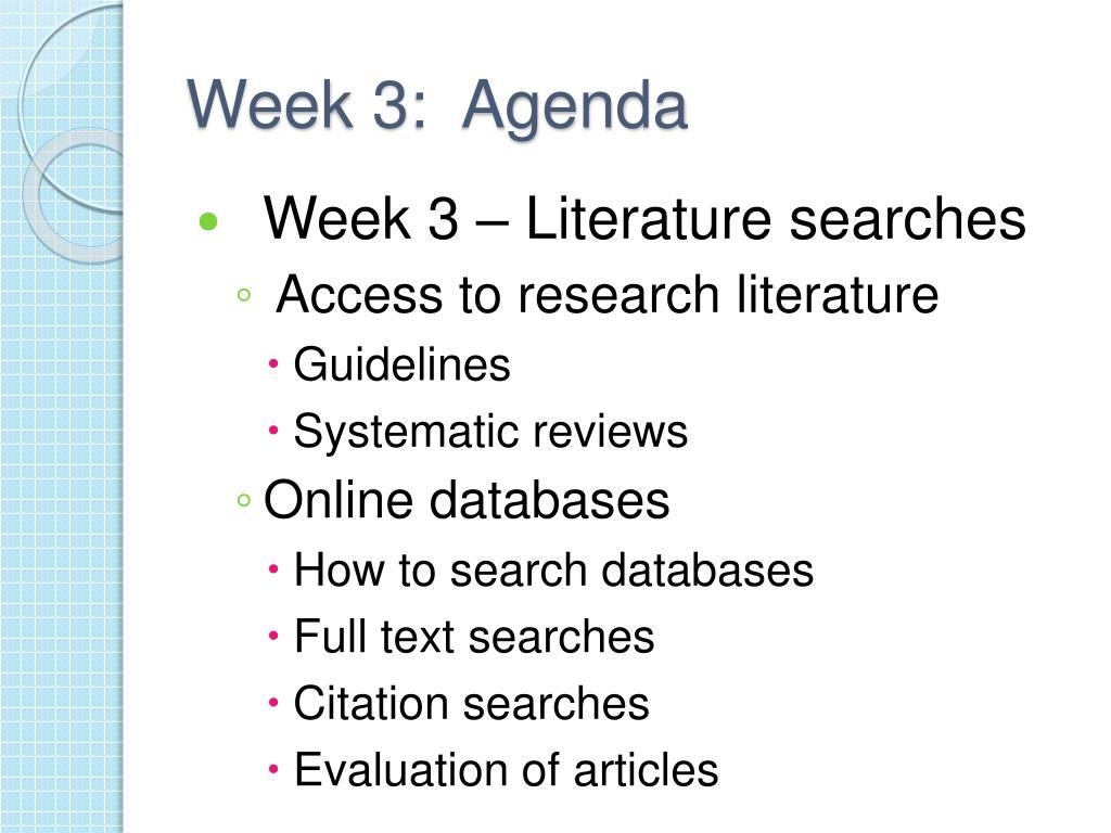 Week 3:  Agenda