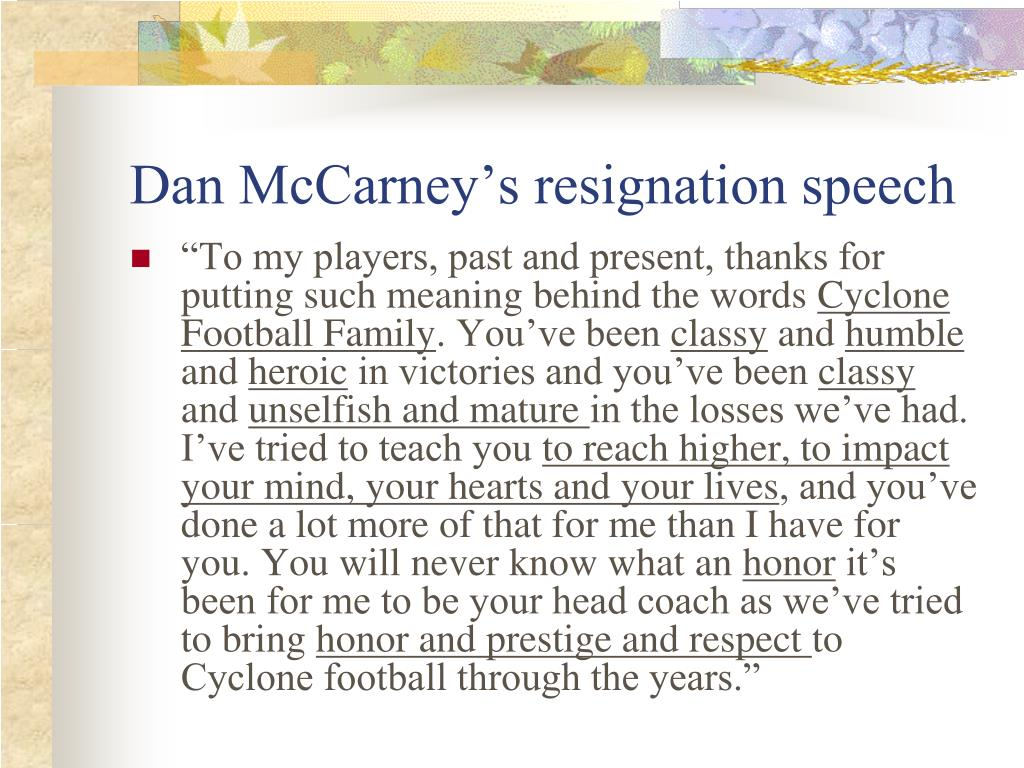 Dan McCarney's resignation speech