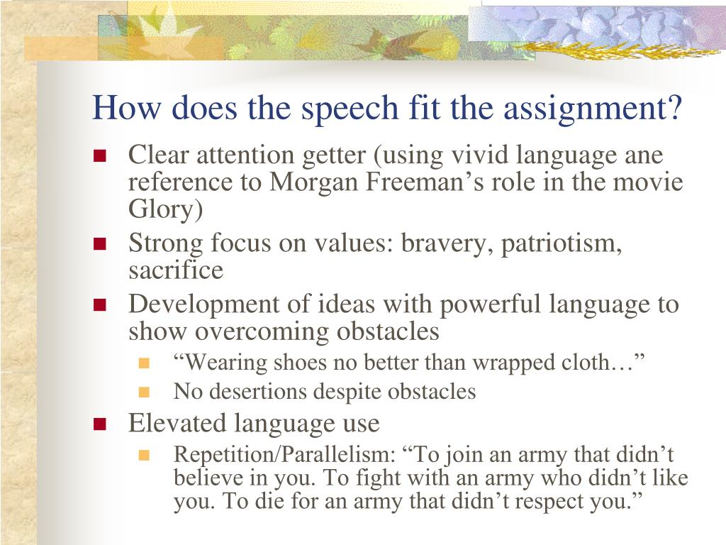 How does the speech fit the assignment?