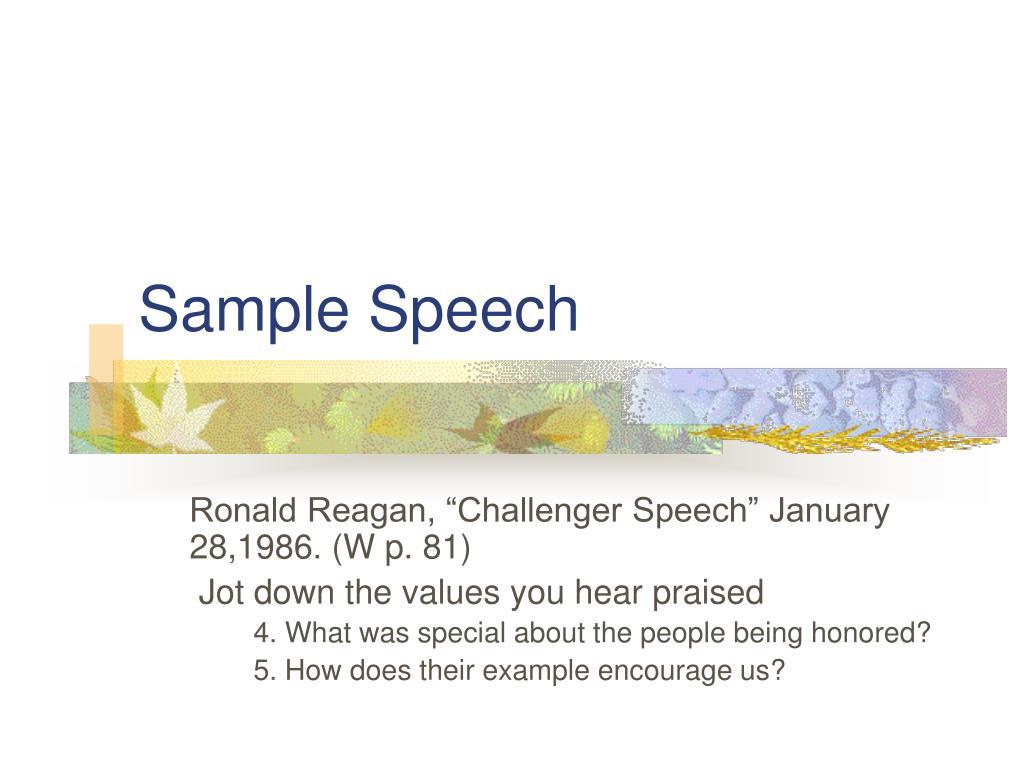 Sample Speech