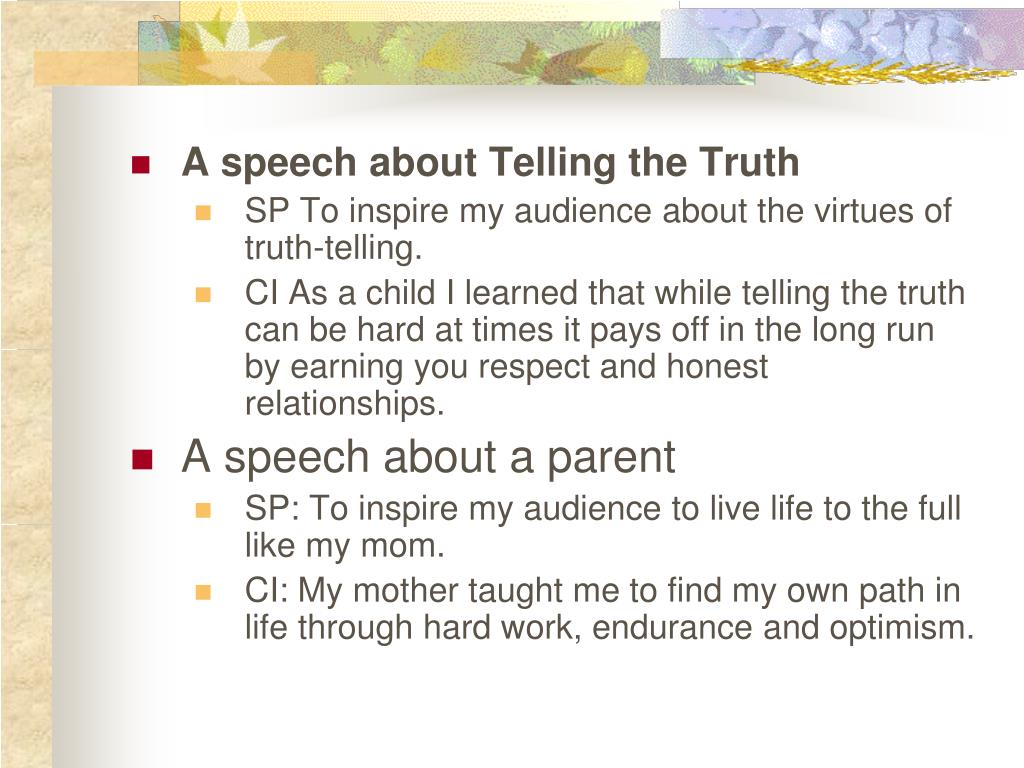 A speech about Telling the Truth