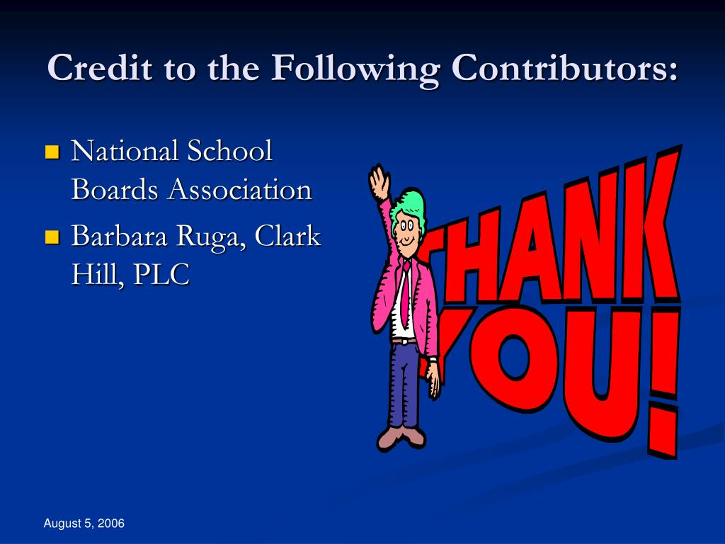 Credit to the Following Contributors: