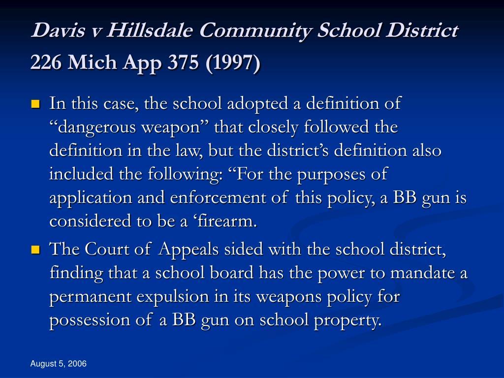 Davis v Hillsdale Community School District