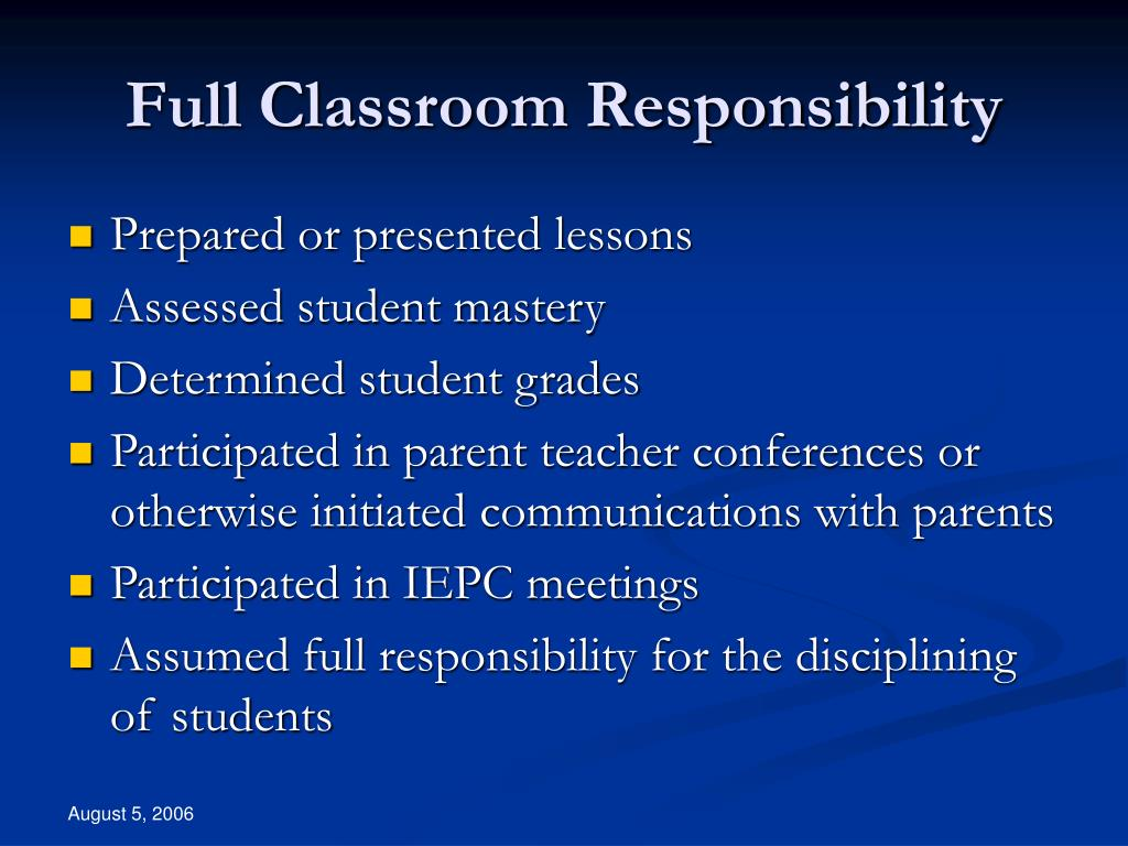 Full Classroom Responsibility