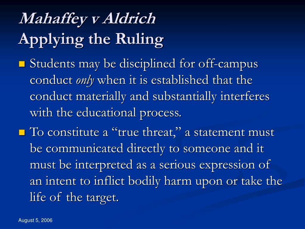 Mahaffey v Aldrich