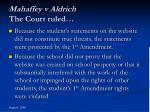 mahaffey v aldrich the court ruled
