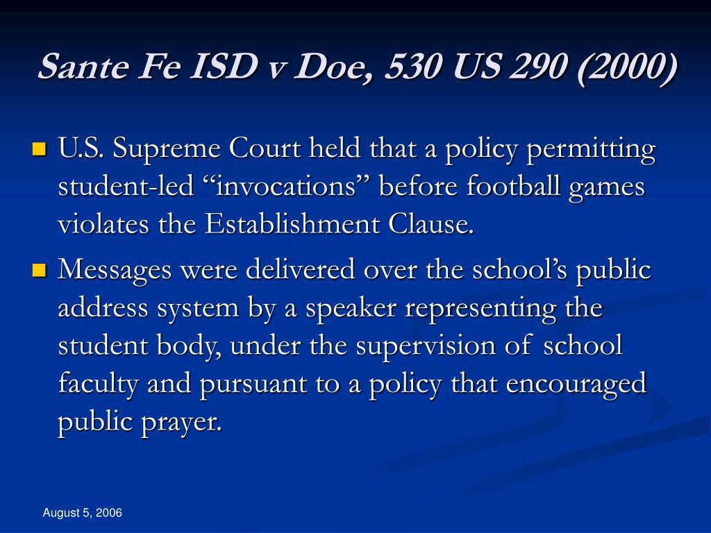 Sante Fe ISD v Doe, 530 US 290 (2000)