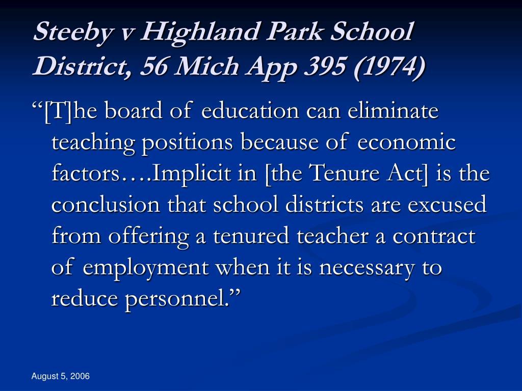 Steeby v Highland Park School District, 56 Mich App 395 (1974)