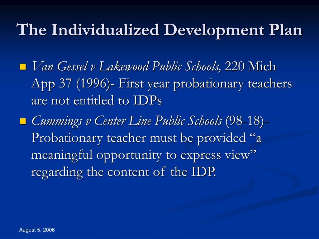 The Individualized Development Plan