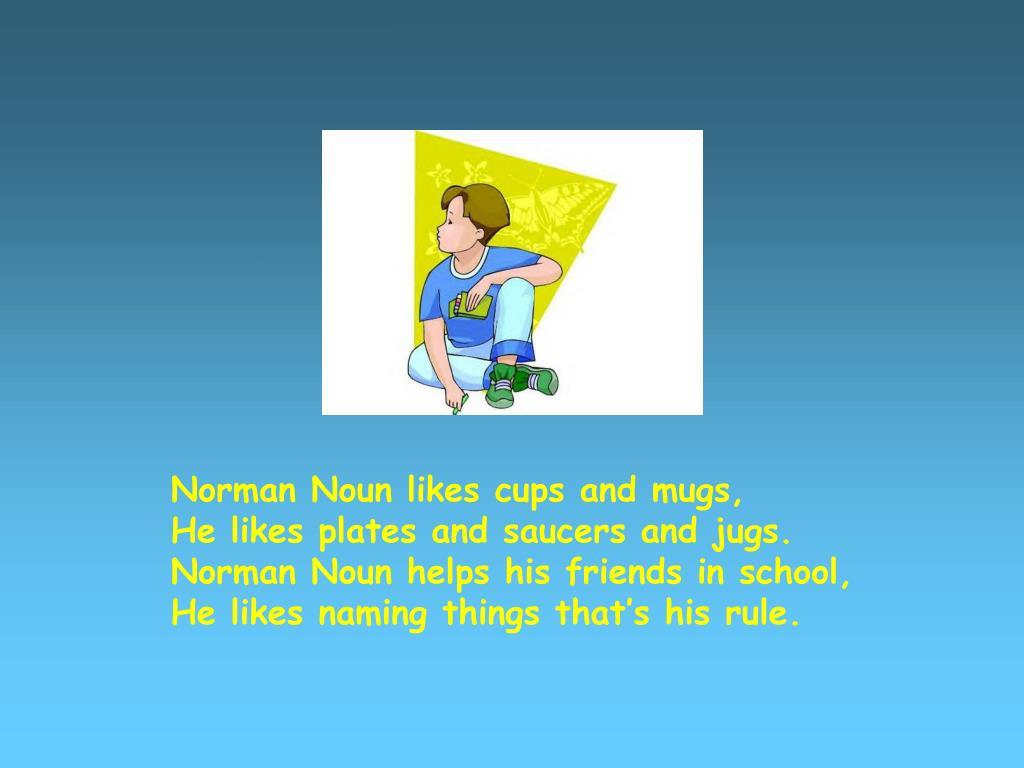 Norman Noun likes cups and mugs,