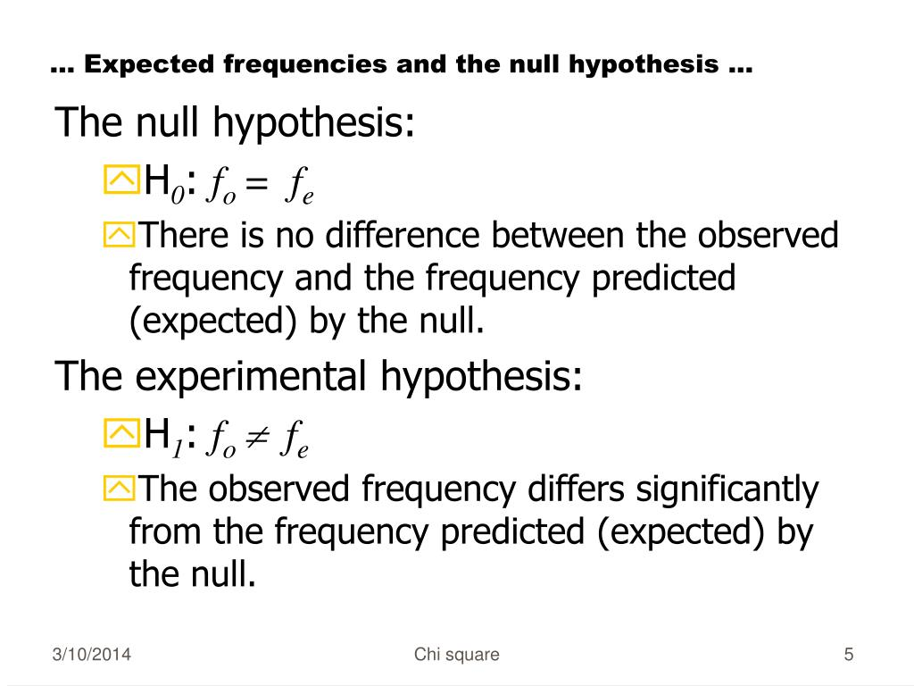 … Expected frequencies and the null hypothesis ...