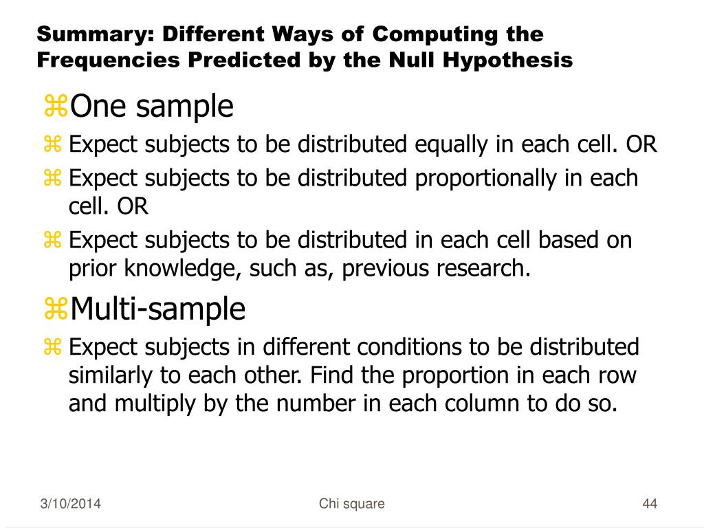Summary: Different Ways of Computing the Frequencies Predicted by the Null Hypothesis