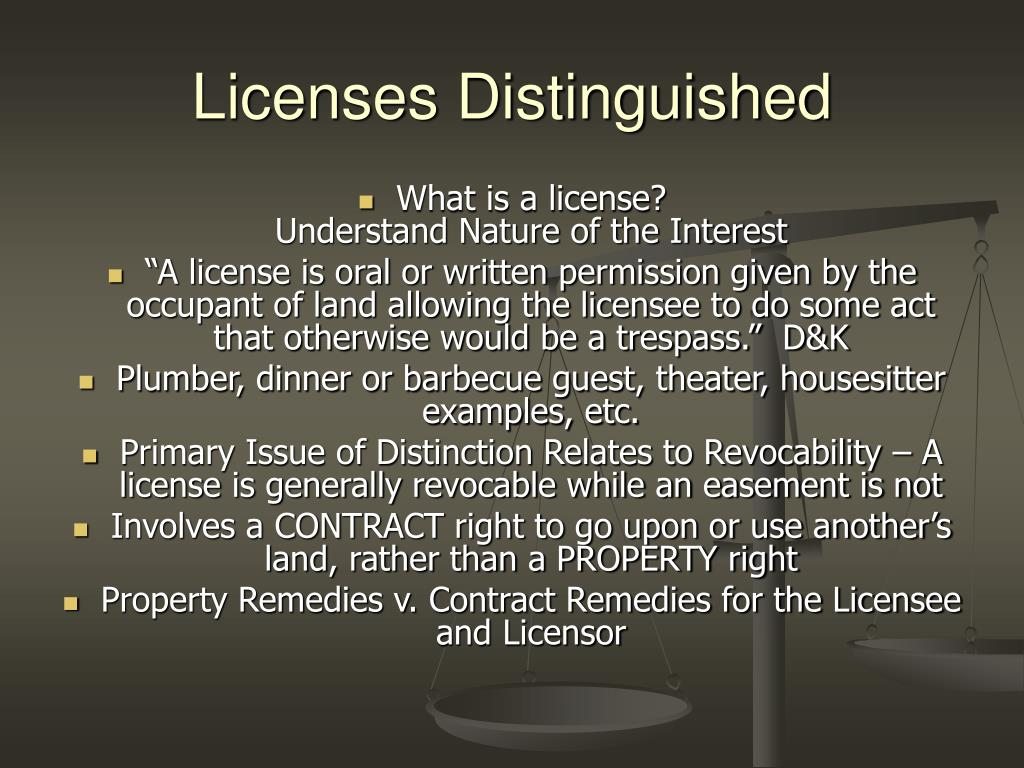 Licenses Distinguished