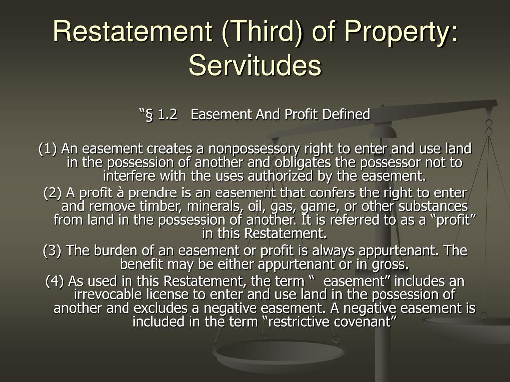 Restatement (Third) of Property: Servitudes