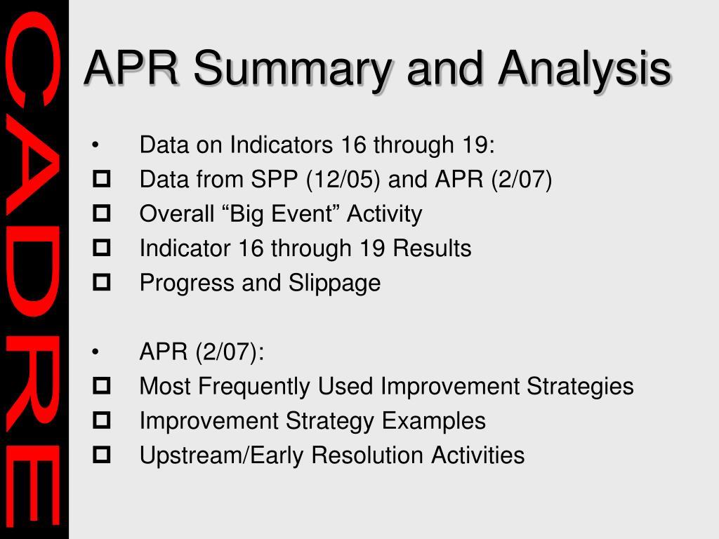 APR Summary and Analysis