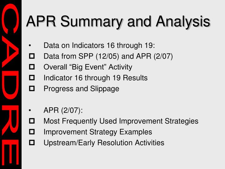 Apr summary and analysis l.jpg