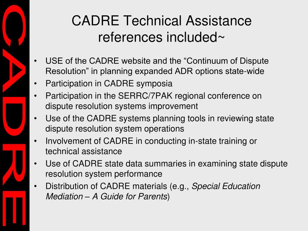 CADRE Technical Assistance