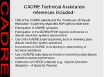 cadre technical assistance references included