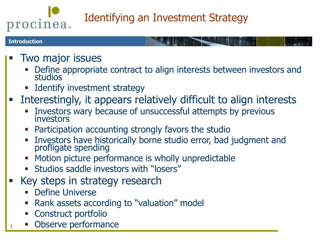 Identifying an Investment Strategy